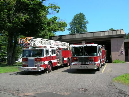 Station 9 engines parked in the driveway