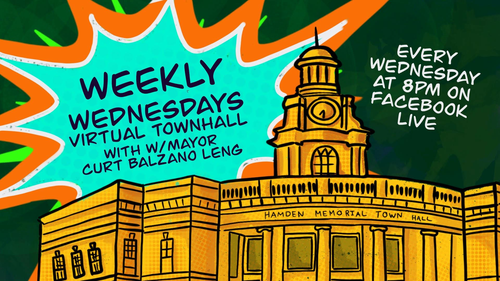 logo for the virtual weekly town hall meeting on the town of hamden facebook page