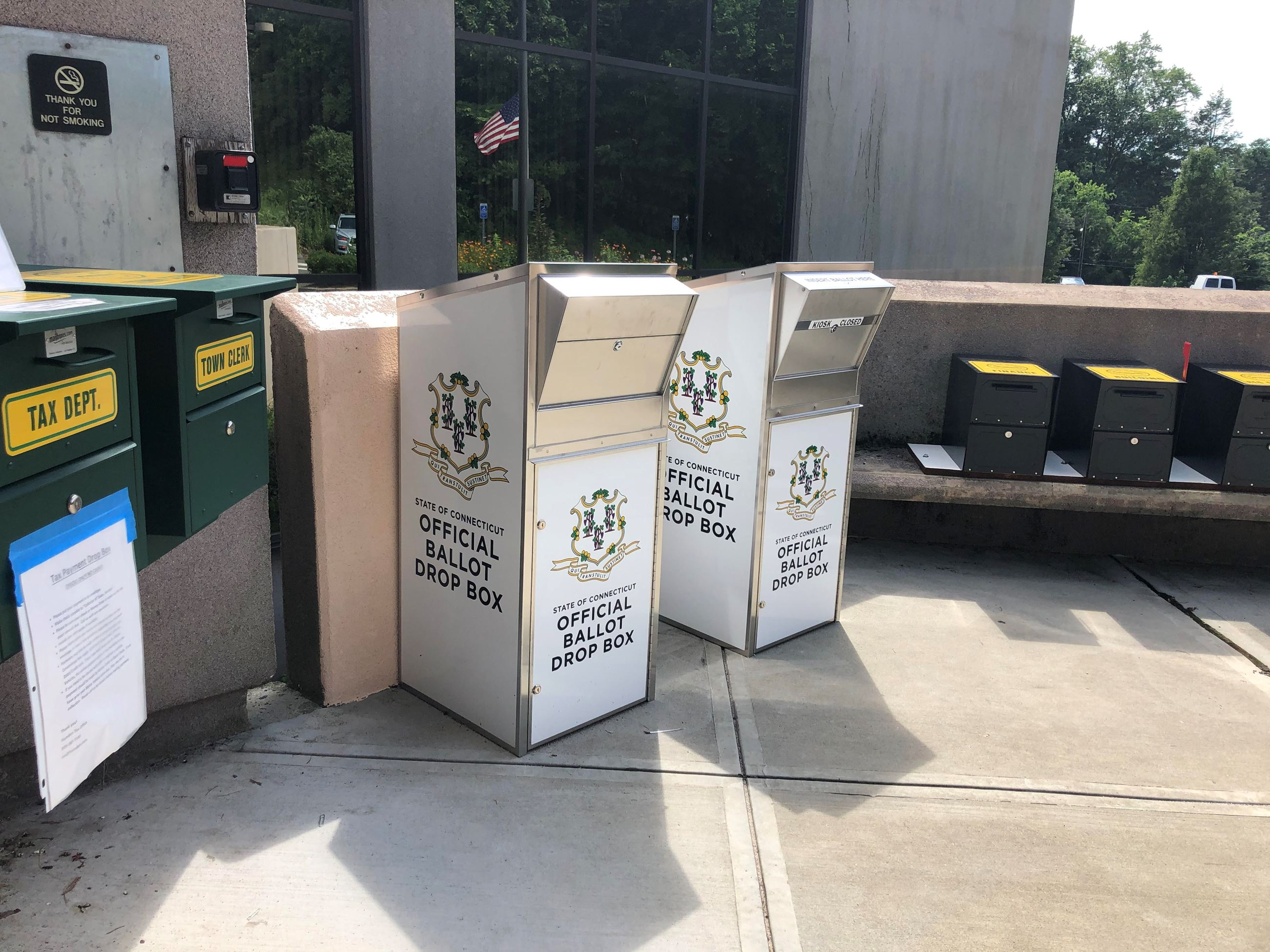 Hamden Absentee Ballot Drop Boxes are now installed in front of the Hamden Government Center