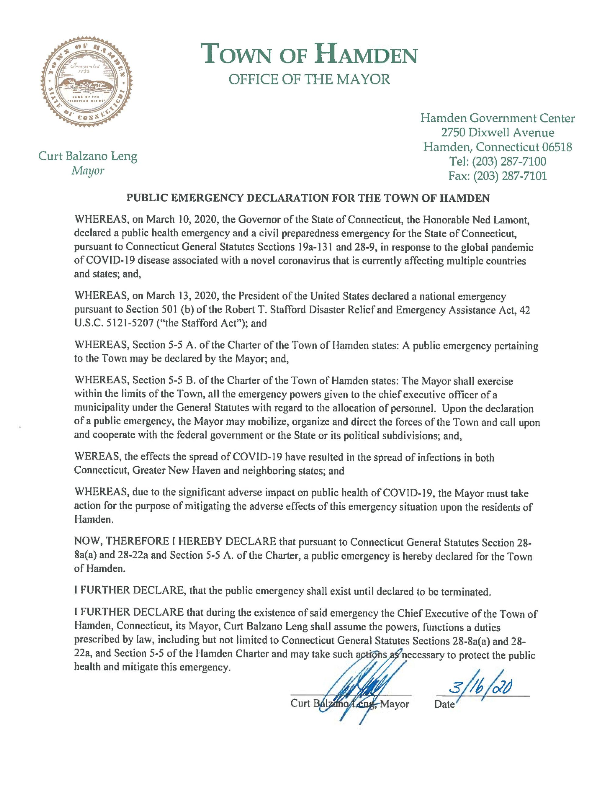 PUBLIC EMERGENCY DECLARATION FOR THE TOWN OF HAMDEN-page-001