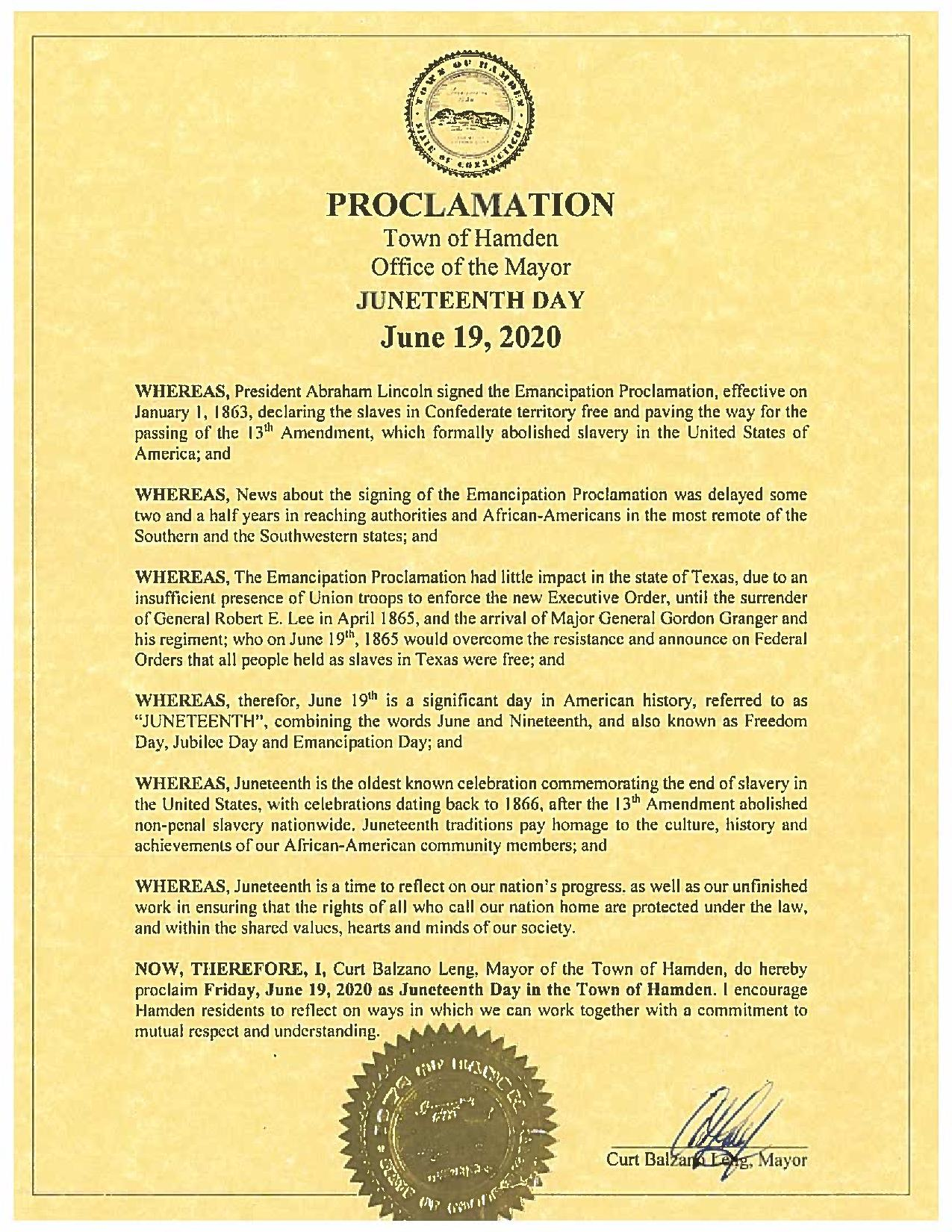 juneteenth proclamation 2020