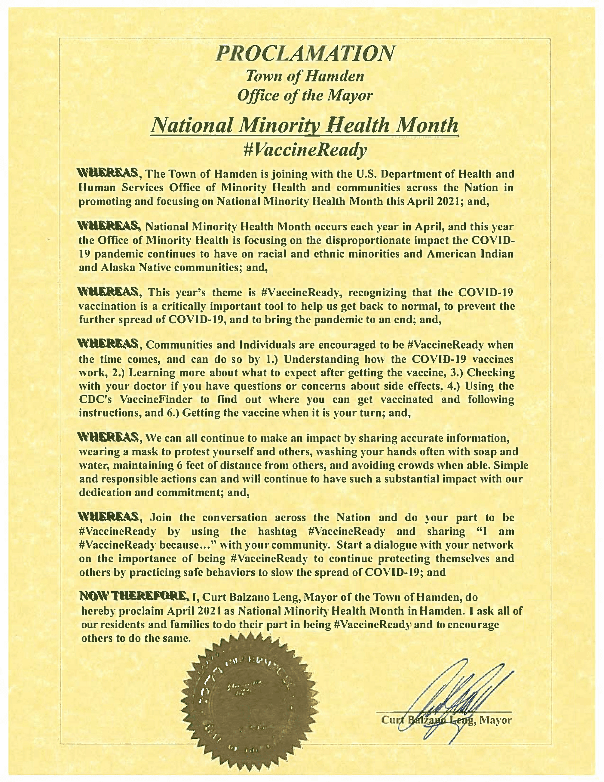 04-14-21 - Proc - National Minority Health Month